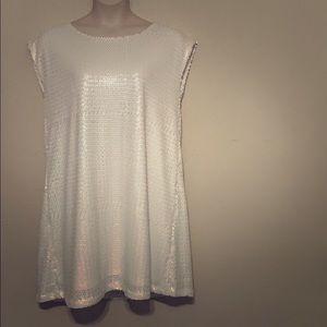 Issac Mizrahi Super Cute White Sequin Shift Dress